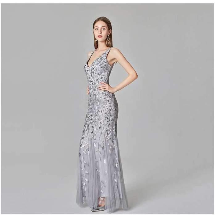Fashion Sexy V neck Sleeveless Fishtail Evening Dresses