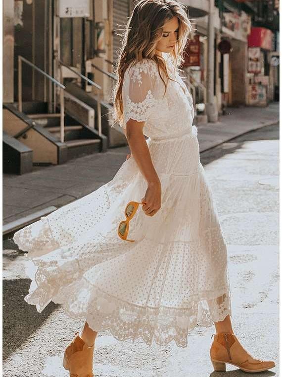Fashion Sexy Lace V neck Short sleeve Maxi Dresses
