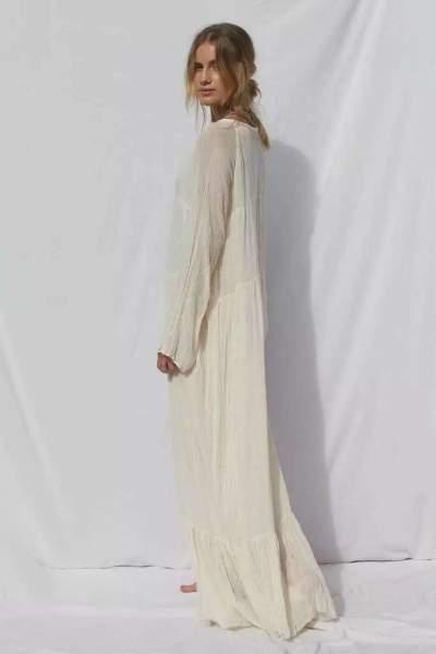 Casual Pure Long sleeve V neck Maxi Dresses