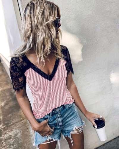 Fashion Stripe Lace Short sleeve V neck T-Shirts