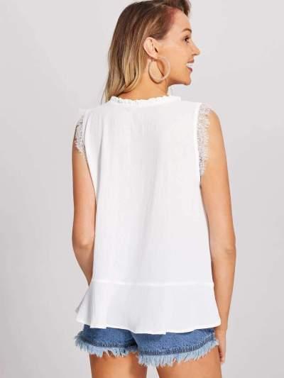 Fashion Gored Lace Round neck Vests