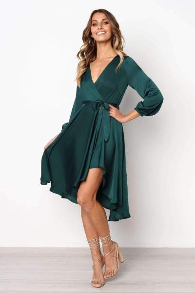 Fashion Pure V neck Lacing Skater Dresses