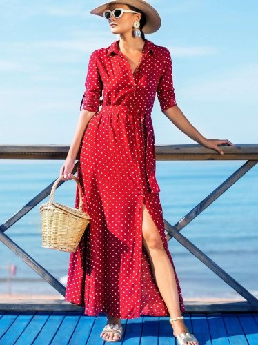 Elegant Point print Fastener Lacing Long sleeve Maxi Dresses