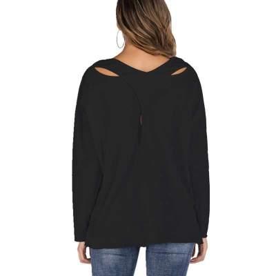 Fashion Pure Round neck Long sleeve Irregular T-Shirts