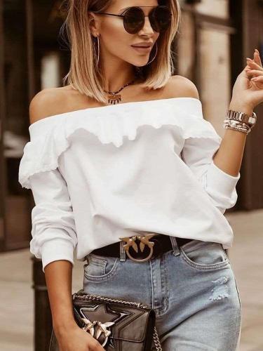 Fashion Pure Falbala One shoulder Long sleeve T-Shirts