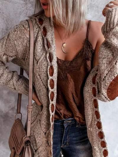 Women stylish knit Long-sleeved cardigan sweaters