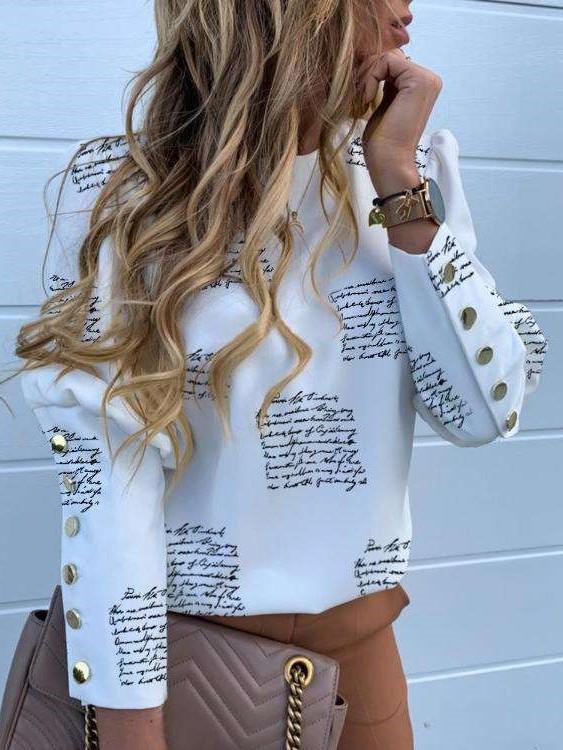 Fashion Round neck Long sleeve Fastener Blouses