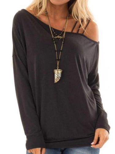 One Shoulder Woman Plain T-Shirts