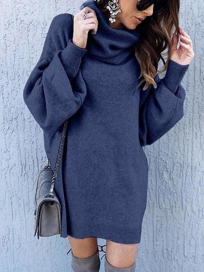 Stylish plain long sleeve high neck shift dresses