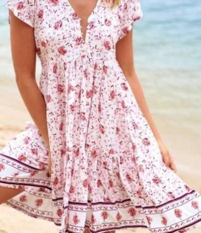 Fashion Casual Print Short sleeve V neck Shift Dresses