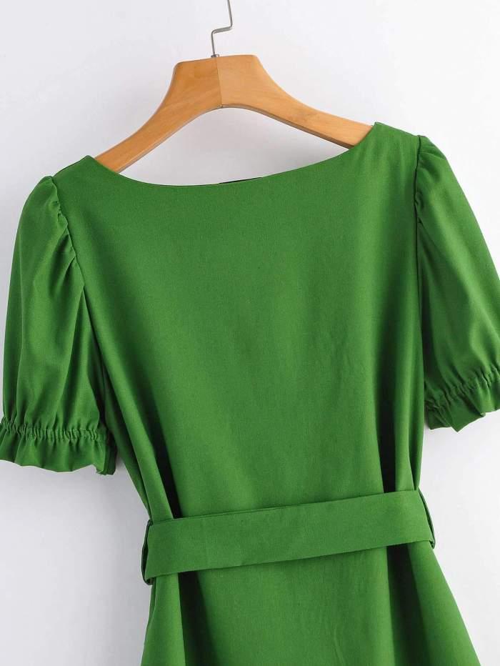 Fashion Pure Square collar Short sleeve Shift Dresses