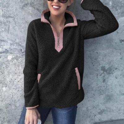 Long Sleeve Warm V-neck with Pocket Women Sweatshirt