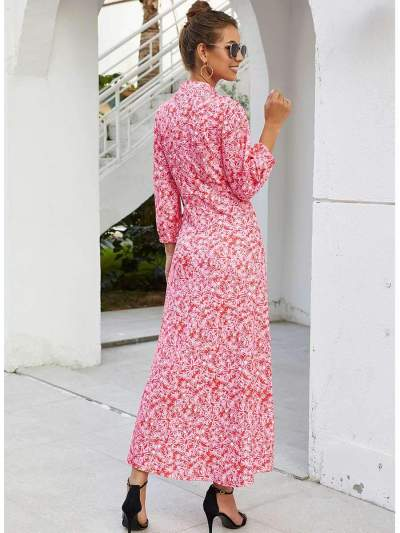 Fashion Print Round neck Big Hem Skater Maxi Dresses
