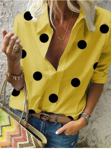 Fashion Point print Lapel Long sleeve Blouses