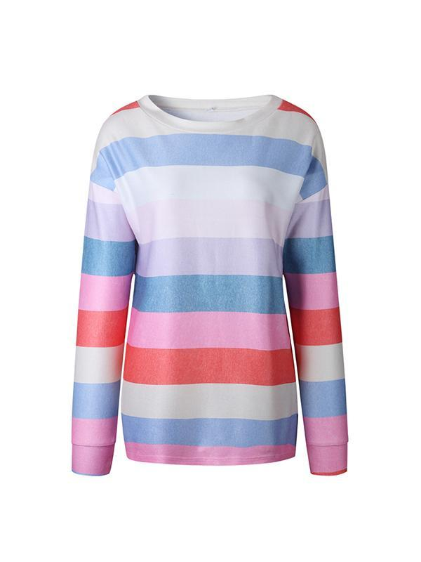 Autumn Fashion Printed Round Neck Long-sleeved Stripe Sweatshirts Top