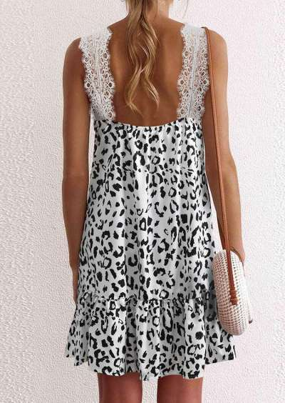 Fashion Casual Leopard print Lace V neck Sleeveless Vest Backless Shift Dresses