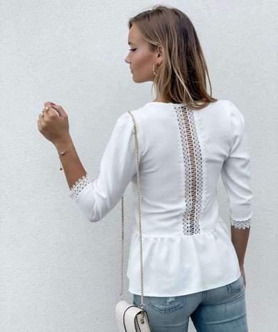 Fashion Pure V neck Gored Half sleeve Blouses