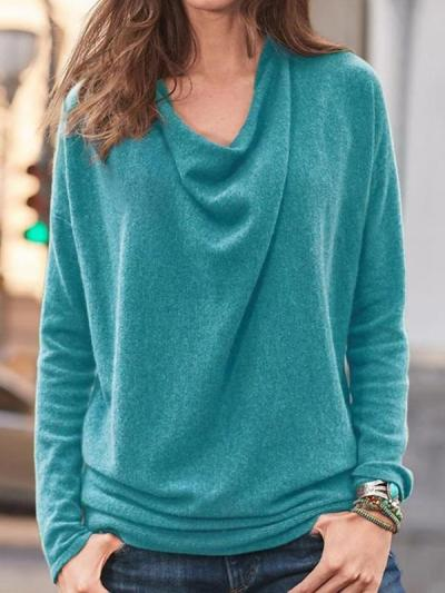 Daily plain Heaps Collar long sleeve sweaters