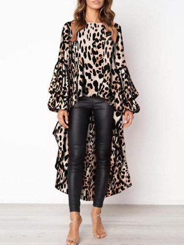 Fashion Leopard Woman Long Sleeve Irregular Hem Blouses