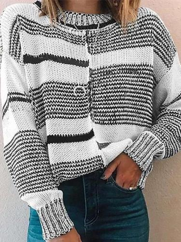 Fashion Stripe Gored Round neck Long sleeve Knit Sweaters