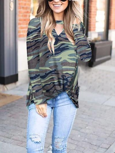 V-neck Leopard Printed Camouflage Long Sleeve T-shirts