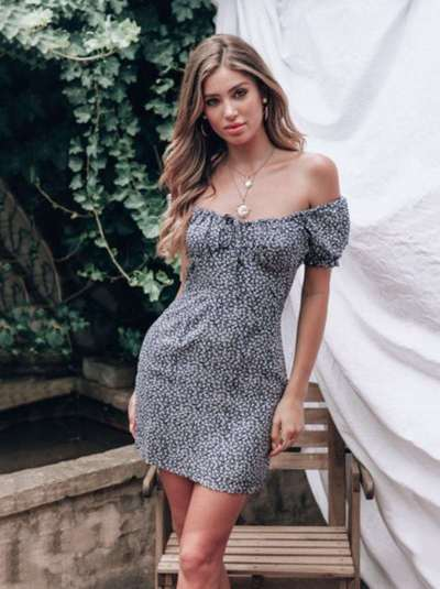 Fashion Sexy Off shoulder Print  Mini Dress