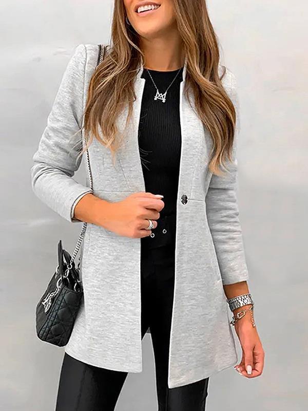 Elegant Pure slim wool stand up collar coats