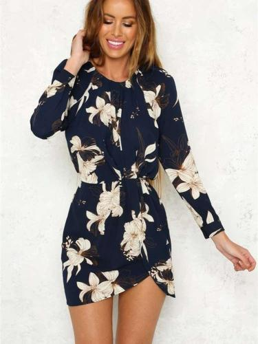 Fashion Print Round neck Long sleeve Tee Skater Dresses