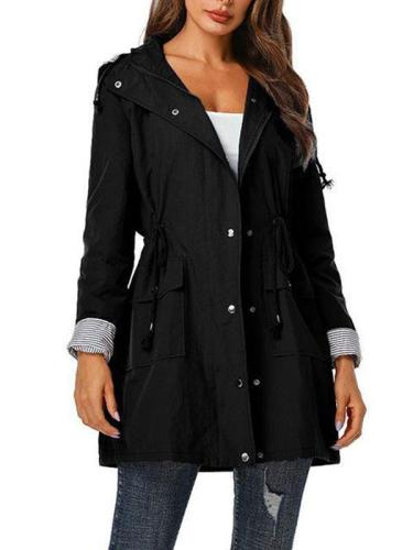 Casual hooded women plain tie waist Trench coats