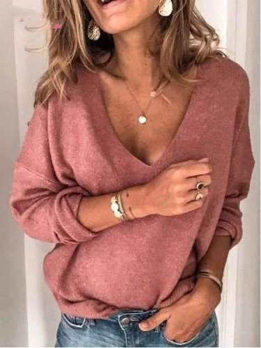 Fashion V neck Long sleeve Pure T-Shirts