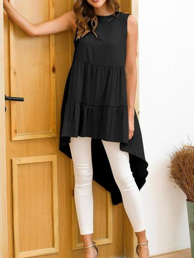 Fashion Round neck sleeveless plain irregular hem T-shirts