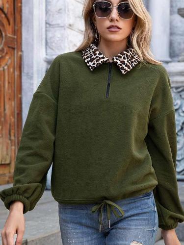 Fashion Casual Leopard print Lapel Long sleeve Plush Sweatshirts