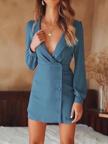 V-neck button-down long sleeves OL Elegant Bodycon Dresses