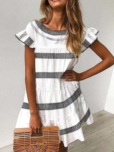 Casual Round neck Short sleeve Stripe Falbala Shift Dresses
