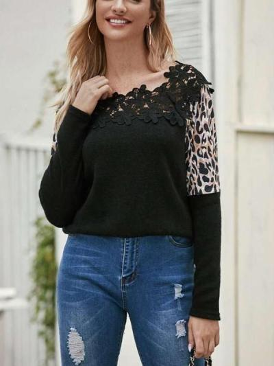 Fashion Lace Gored Print Long sleeve Knit Sweaters