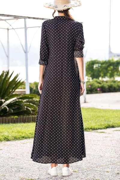 Elegant Point print Fastener Lacing Long sleeve Maxi Dresses