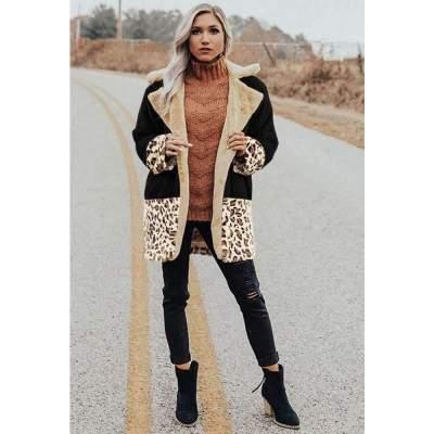 Fashion Casual Plush Leopard Lapel Long sleeve Coats