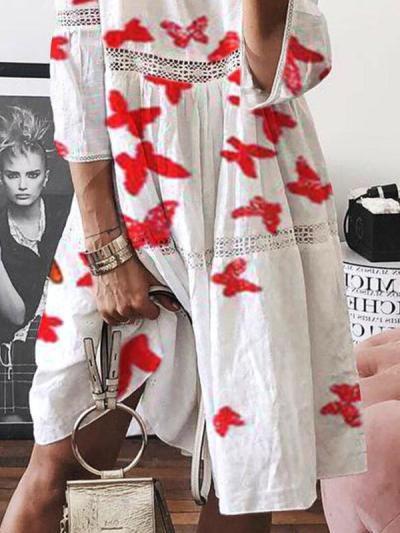 Fashion lace cotton women round neck loose shift dresses