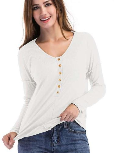 Casual Pure V neck Long sleeve Fastener T-Shirts