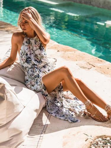 Sexy neck high slit design waist flower printed maxi dress