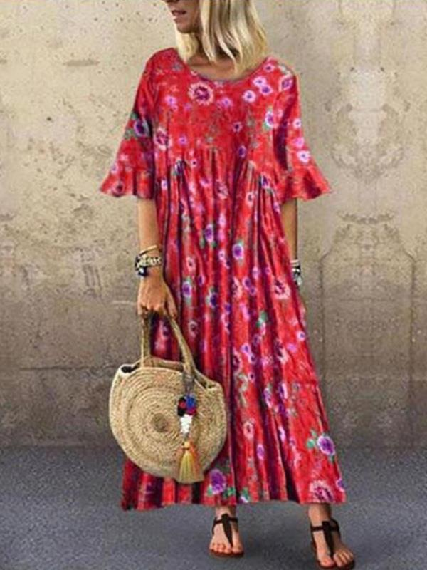 Floral printed round neck short sleeves casual loose maxi dresses