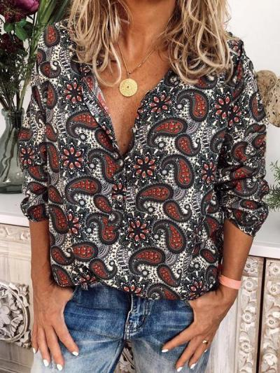 Vintage fashion chic printed long sleeve blouses