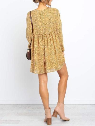 Chiffon floral printed round collar long sleeve mini shift dresses