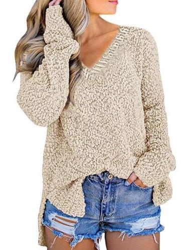 Fashion Vent V neck Knit Long sleeve Sweaters