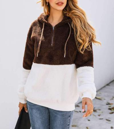 Fashion Gored Zipper Pocket Hairy Hoodies