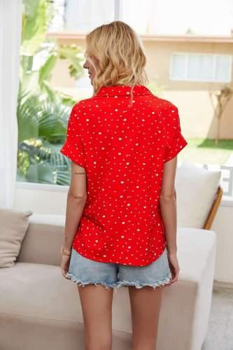 Fashion Point print V neck Short sleeve Blouses