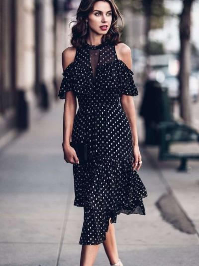 Fashion Point print Off shoulder Short sleeve Skater Dresses