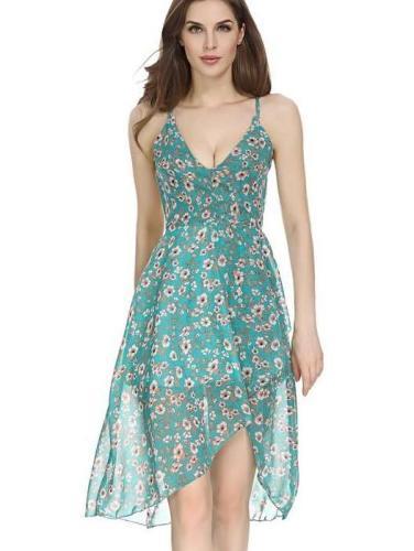 Floral Backless Vest Shift Dresses