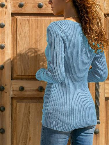 Plus Size Long Sleeve Special Collar Sweater for Woman