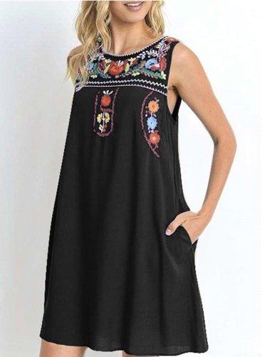 Fashion Print Sleeveless Round neck Shift Dresses